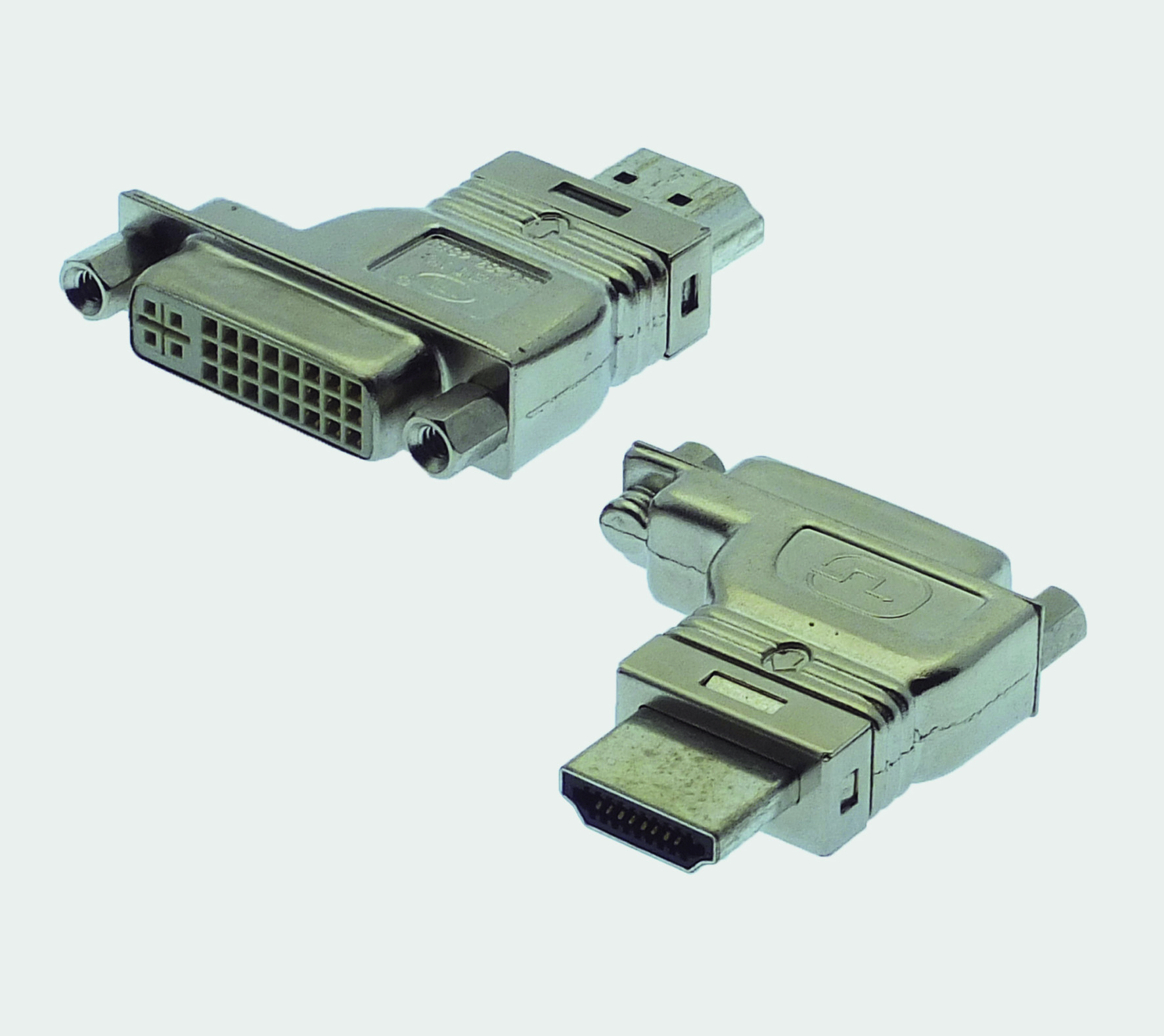 "HDMI A Plug / DVI-D 90° left-shifted/ offset ""RF-BLOK"""