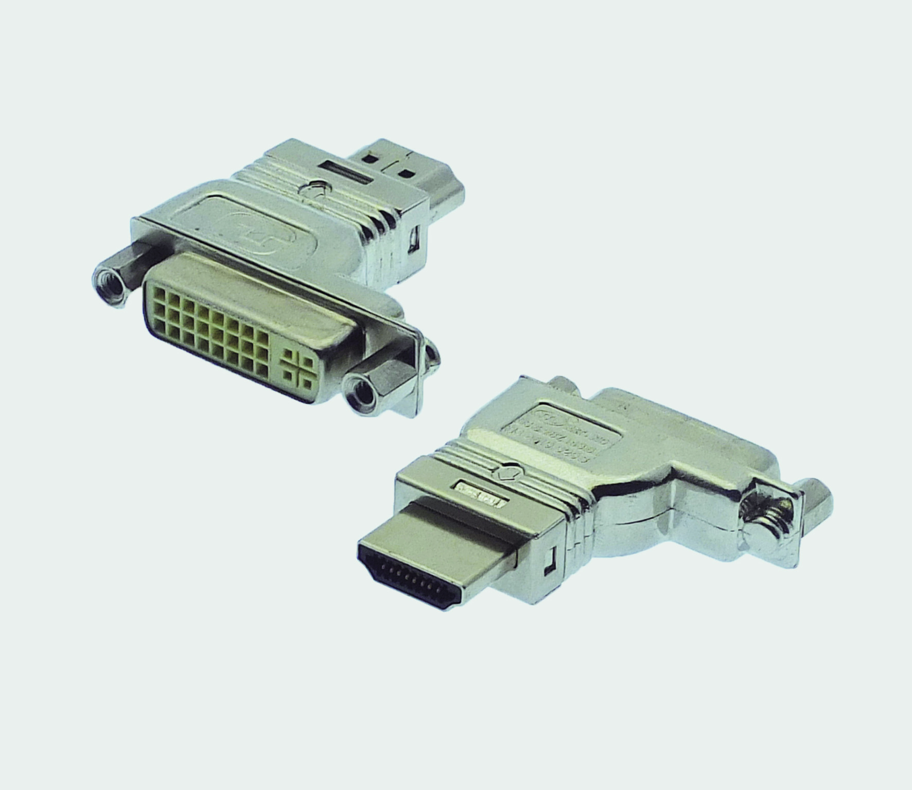 "HDMI A Plug / DVI-D 90° right-shifted / offset ""RF-BLOK"""