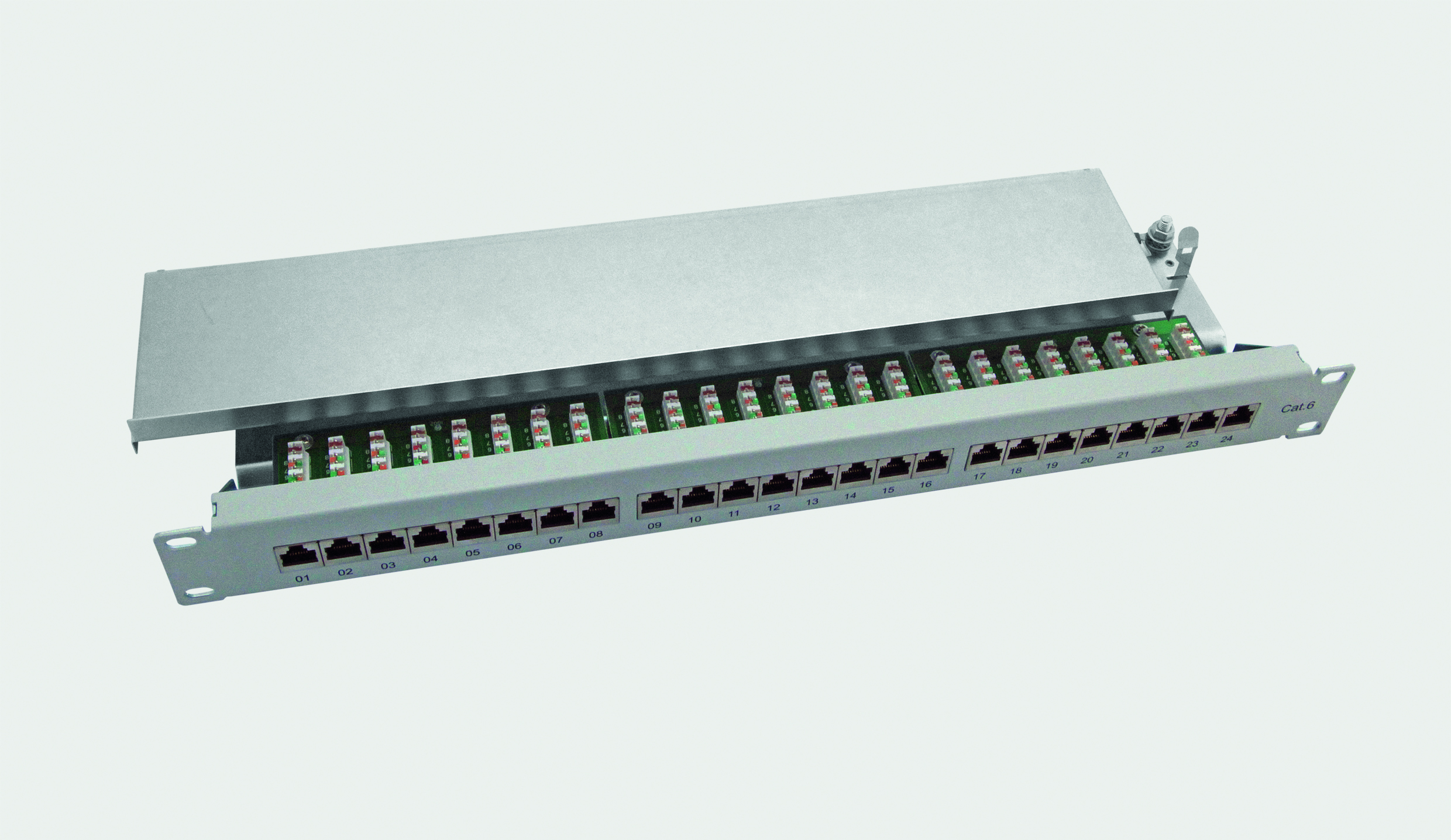 "19"" Cat.6 Class E Patch Panel 24 Port 1U, shielded - grey RAL 7032"