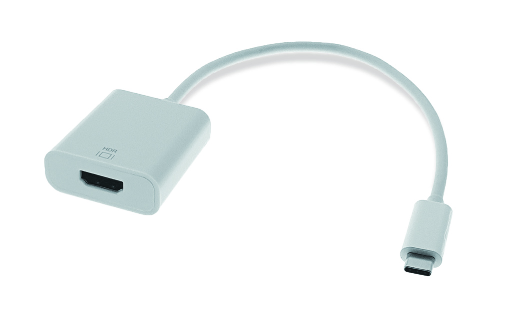 USB C male to HDMI A female, white
