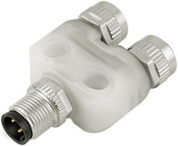 Double distributor, LED, male connector M12x1 - 2 female connectors M12x1