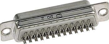 D-SUB pin strip, solder bucket, 180 °