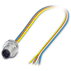 Bus system flat-type plug SACC-E, M12-SPEEDCON, D-coded, Front mounting, Individual wires