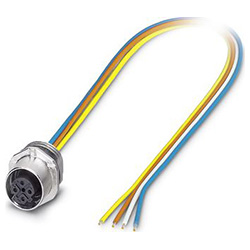 Bus system flat-type plug SACC-E, socket M12-SPEEDCON, D-coded, front/screw mounting, with TPE litz wire