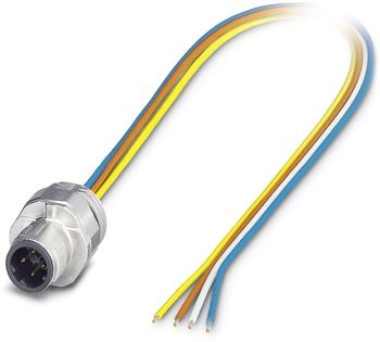 Bus system flat-type plug SACC-EC, Plug, straight, M12-SPEEDCON, D-coded, Front mounting, Individual wires