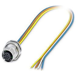 Bus system flat-type plug SACC-DSI, socket M12 SPEEDCON, D-coded, front/screw mounting with Pg9 thread, with 0.5 m TPE litz wire