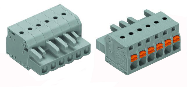 1-conductor female plug, Push-button, with integrated end plate 2231