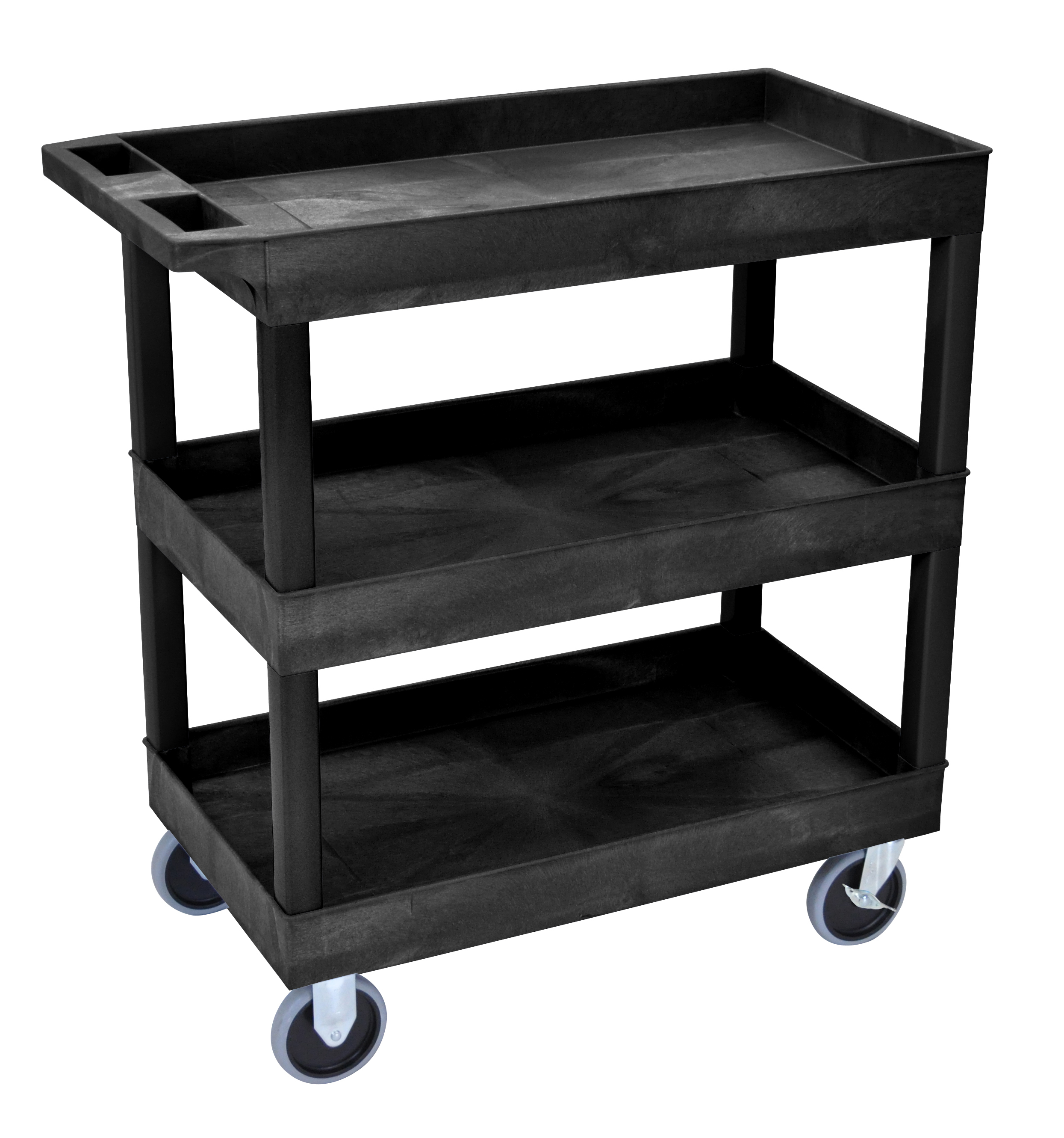 Plastic Utility Cart with 3 tub shelves (high capacity)