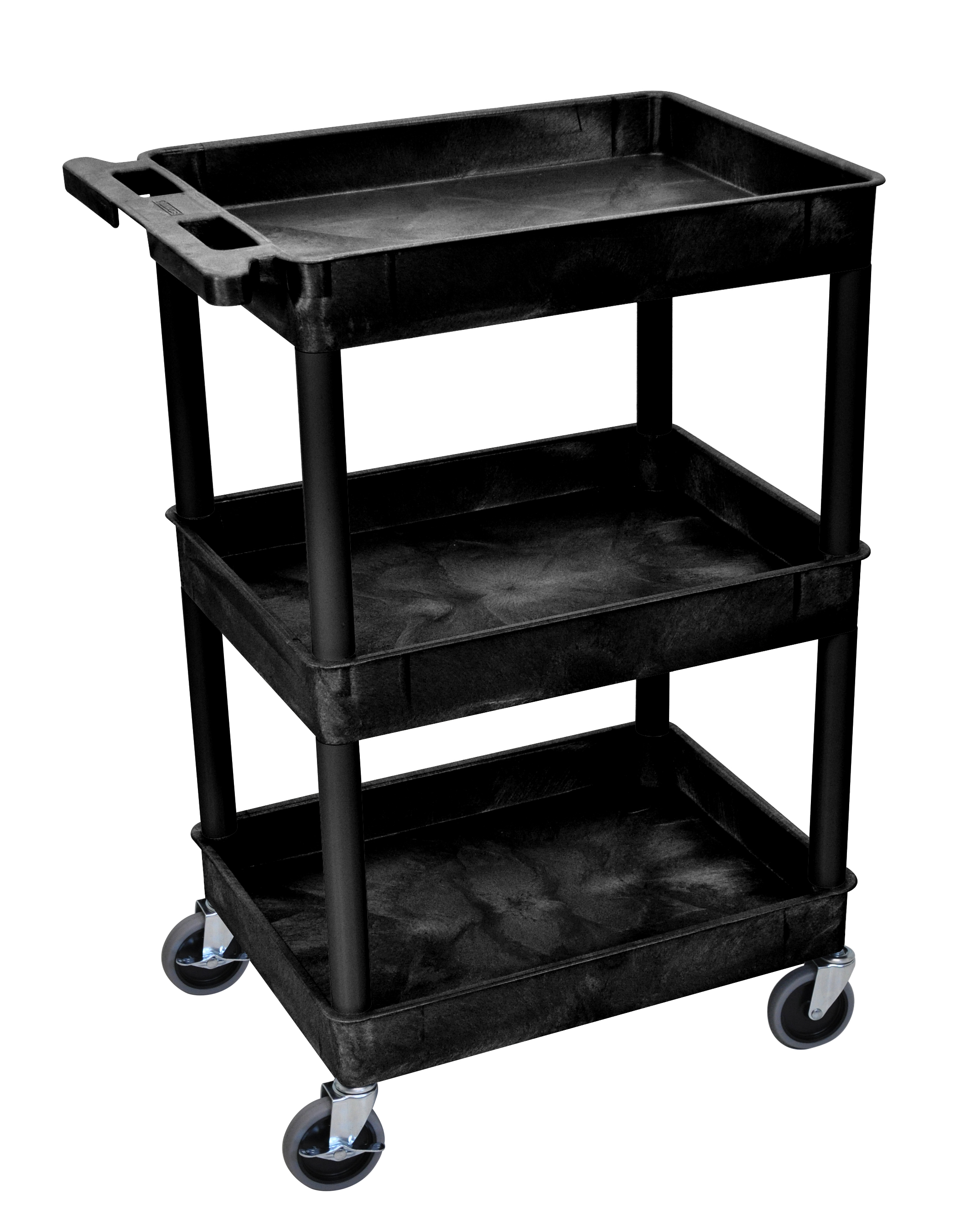 Plastic Utility Cart with 3 tub shelves