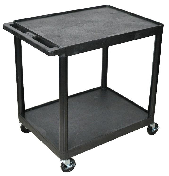 Plastic Utility Cart with 2 flat shelves