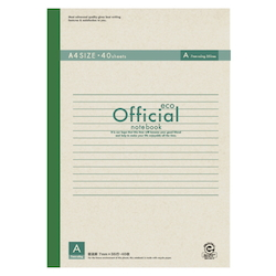 Official Eco Notebook A4 A Rule 40 Sheets