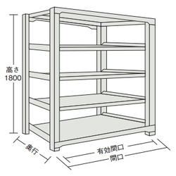 Medium Boltless Shelving Good Shelf NT C-Type (300 kg Type, Height 1,800 mm, 5-Level Type)