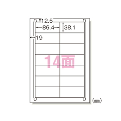 Label Seal <Printer Dual Use> Matte Paper, Contains 100 Sheets, A4 Size, 14 Labels