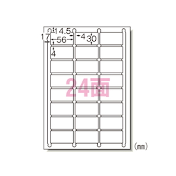 Label Seal <Printer Dual Use> Matte Paper, Contains 100 Sheets, A4 Size, 24 Labels
