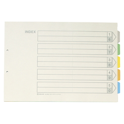 Color Index, Standard: A3 Landscape Type, Number of Holes: 2, Specifications: 5 Colors / 5 Tabs / 6-Piece Set