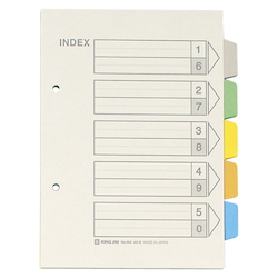 Color Index, Standard: A5 Landscape Type, Number of Holes: 2, Specifications: 5 Colors / 5 Tabs / 6-Piece Set