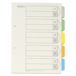 Color Index, Standard: B5 Landscape Type, Number of Holes: 2, Specifications: 5 Colors / 5 Tabs / 6-Piece Set