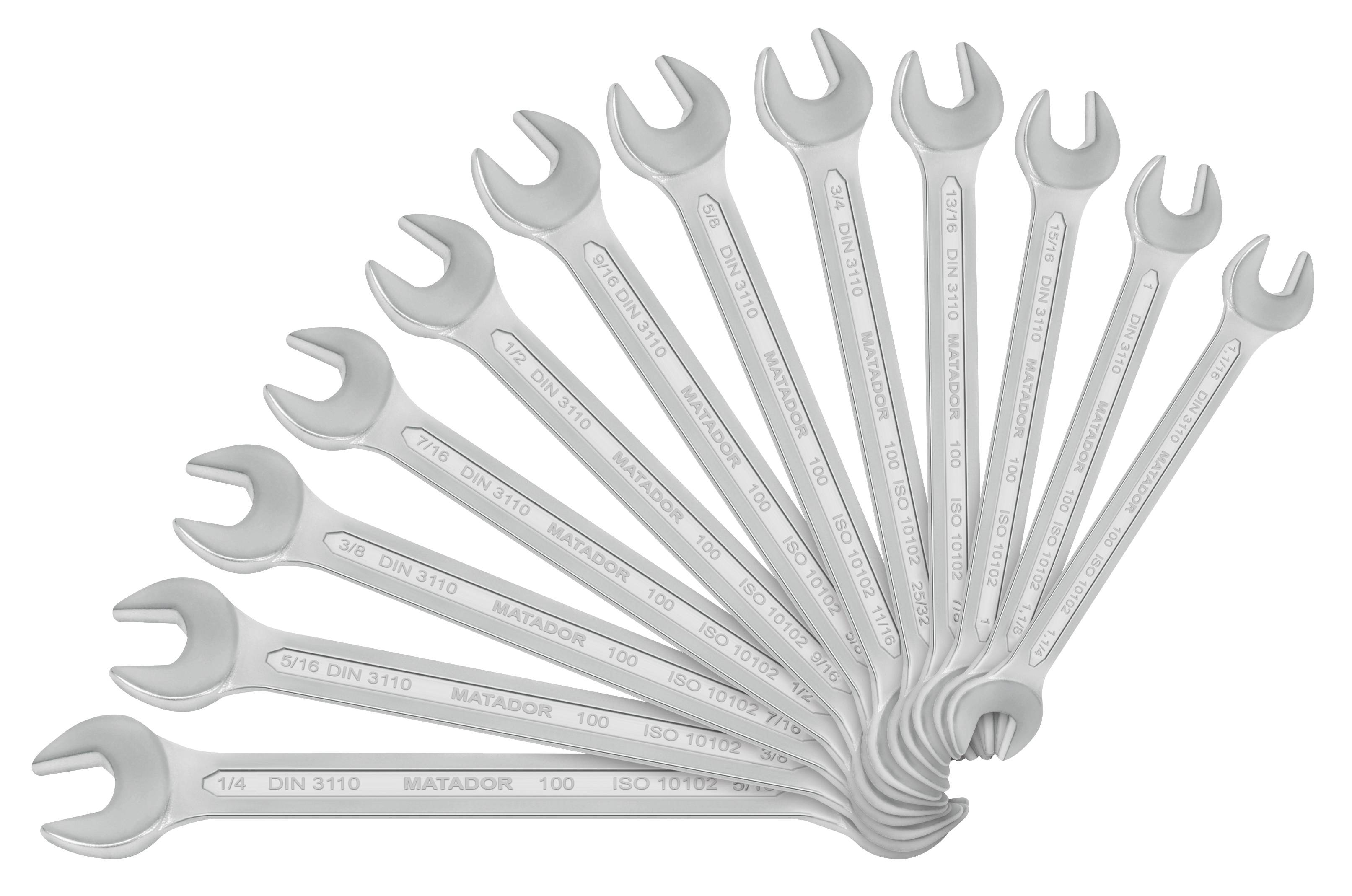 Double-ended open ring spanner set