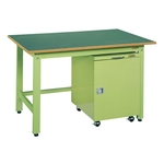 Light Weight Work Bench Model KK, Cabinet Wagon Provided, Balanced Load (kg) 350, Ivory and Sakae Green