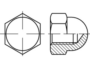 DIN 1587 Plastic Hexagon domed cap nuts
