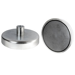 Neodymium Shallow Pot Magnets  / Threaded Hole