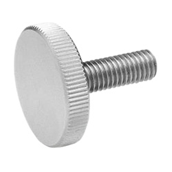 Flat Knurled screws, Stainless Steel