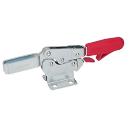 Horizontal acting toggle clamps with safety hook, with horizontal base