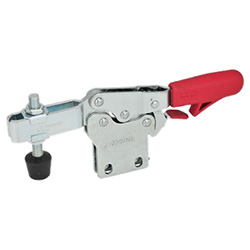 Horizontal acting toggle clamps with safety hook, with vertical mounting base