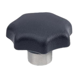 Star knobs, Technopolymer, with protruding Stainless Steel bushing