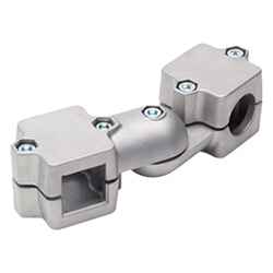 Swivel clamp connector joints, two-part clamp pieces