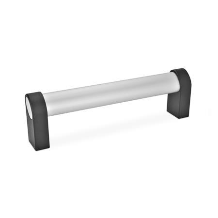Oval tubular handles, with inclined profile, Aluminum / Zinc die casting (GN 335)