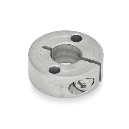 Semi-split Stainless Steel-Set collars, with flange holes (GN 7062.2)