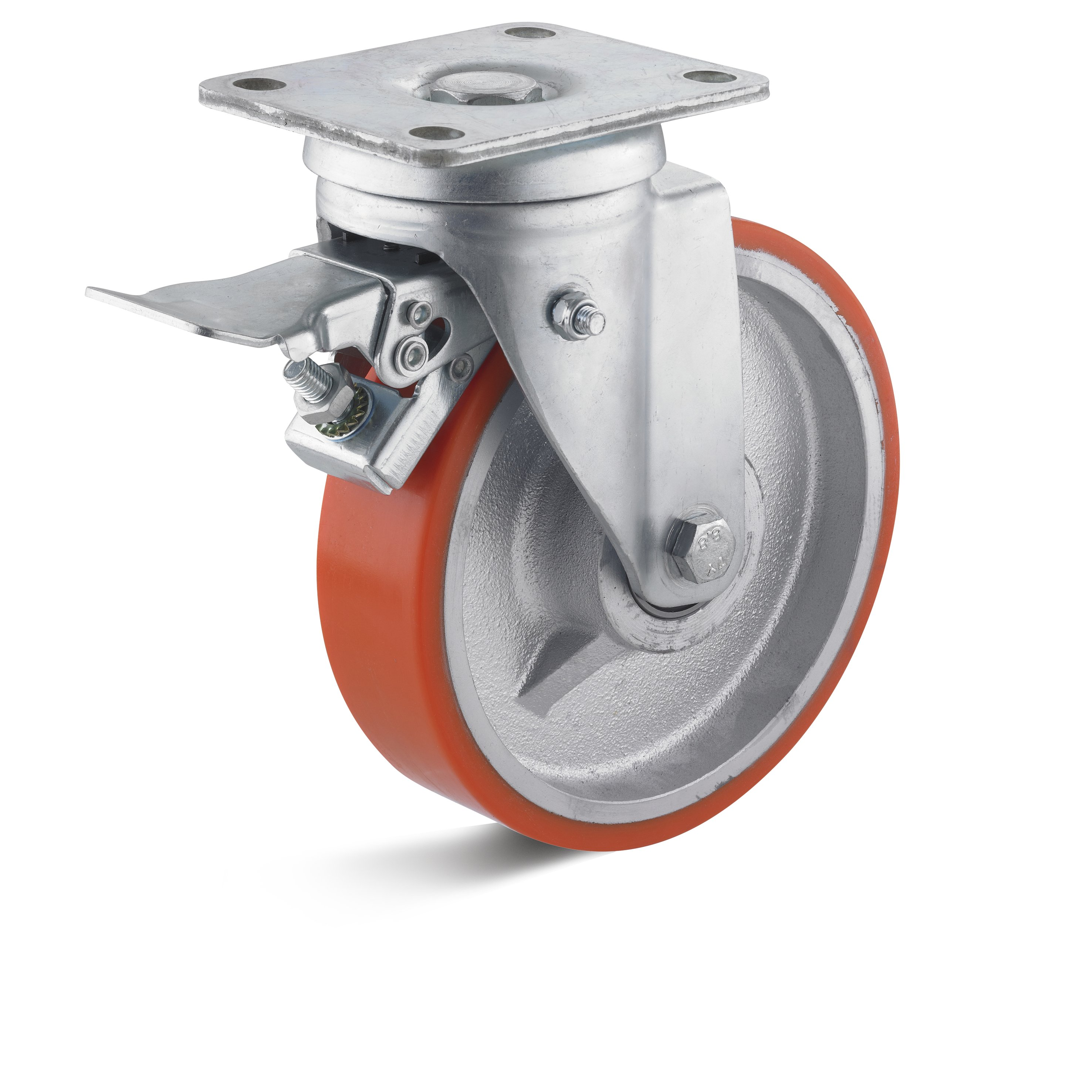 Heavy duty swivel castor with double stop and polyurethane wheel