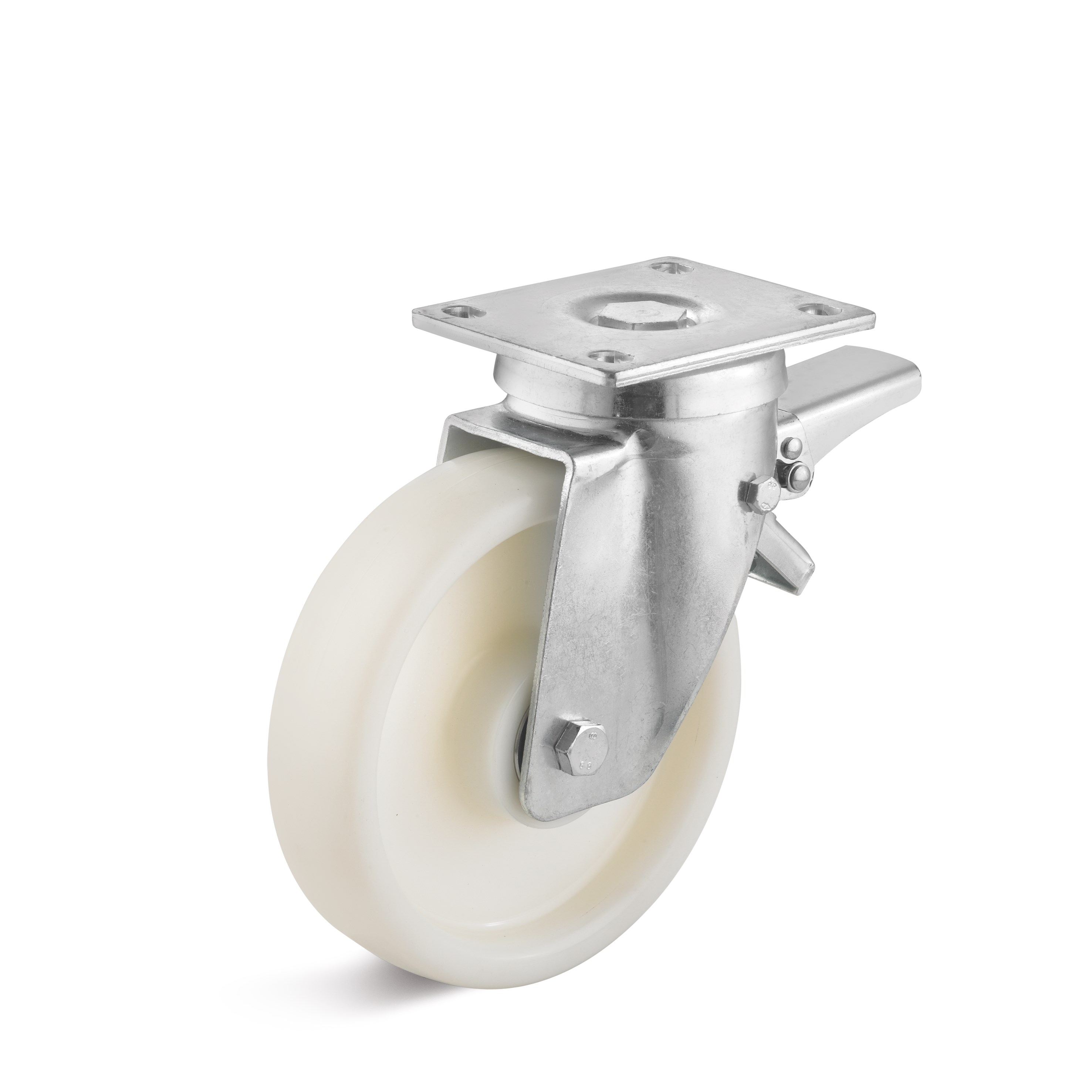 Heavy duty swivel castor with double stop and polyamide wheel