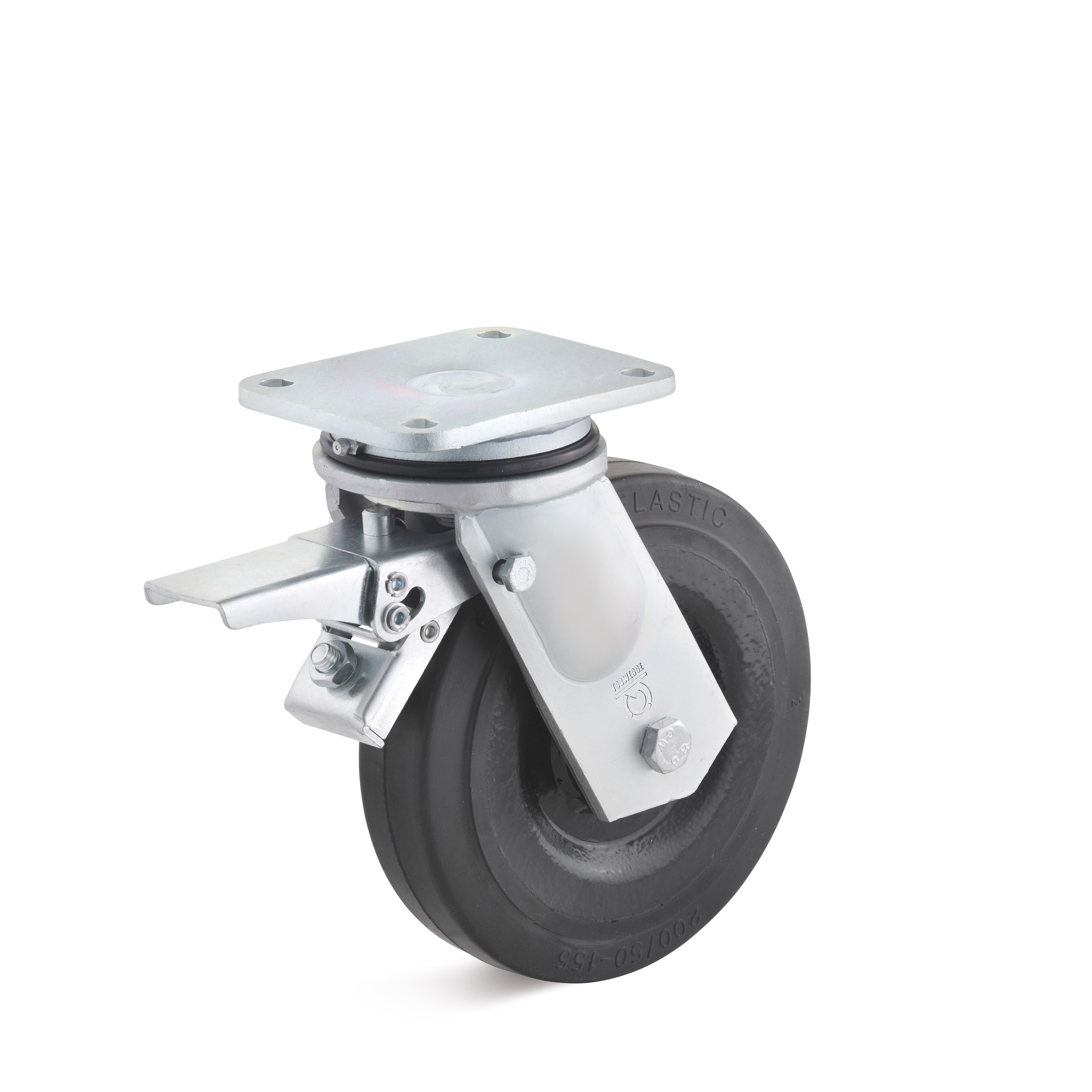 Heavy duty swivel castor with double stop and elastic solid rubber wheel