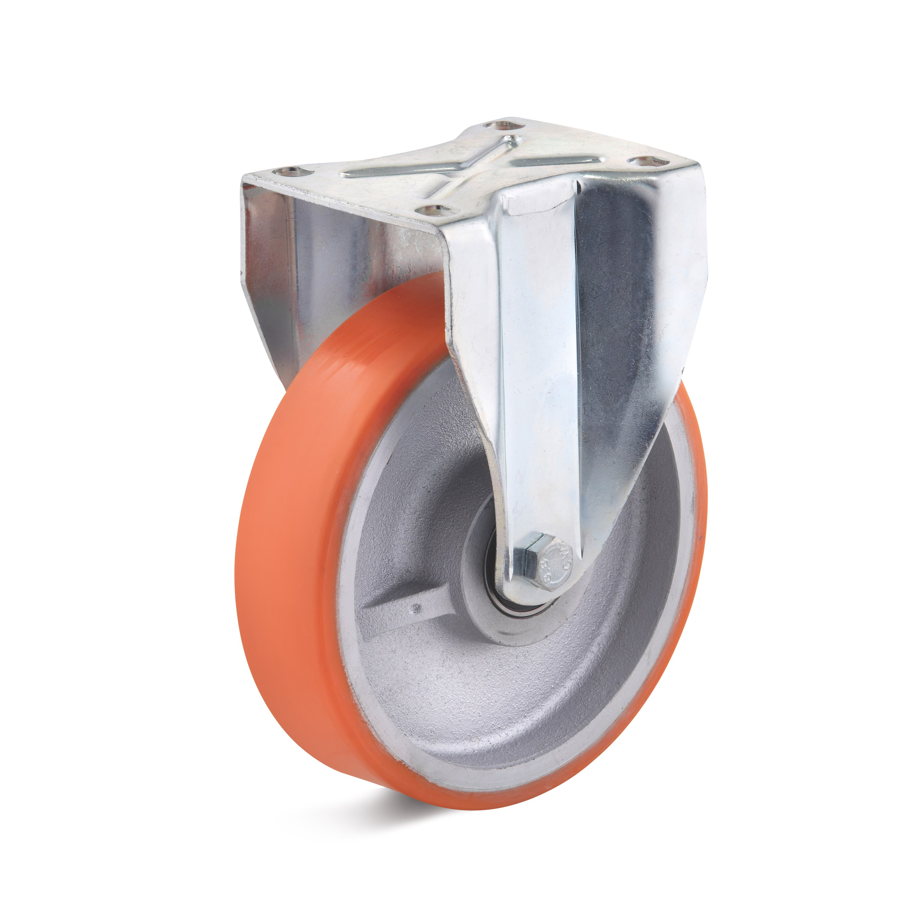Heavy duty fixed castor with polyurethane wheel, housing made of welded steel construction