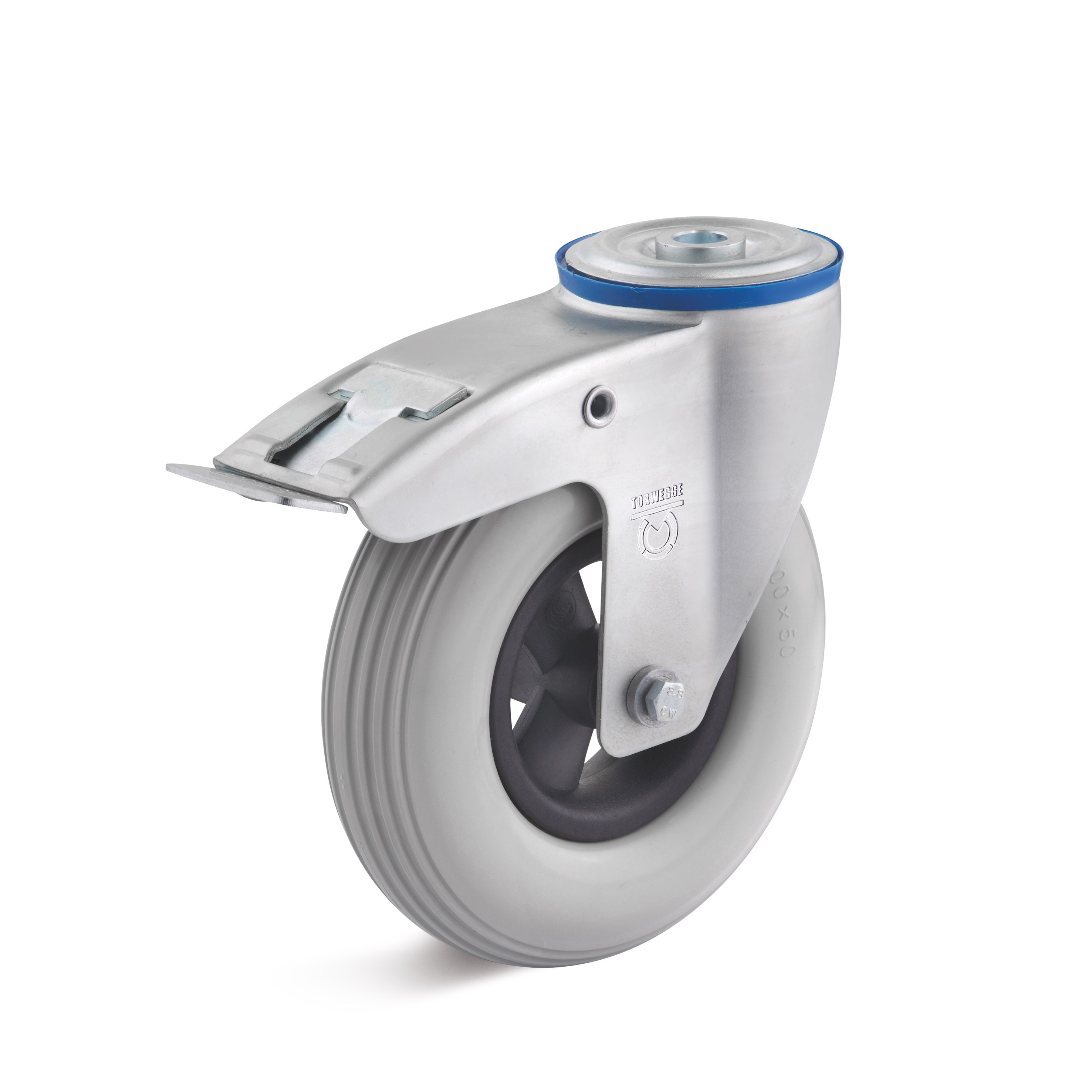 PU swivel castor with back hole and double stop