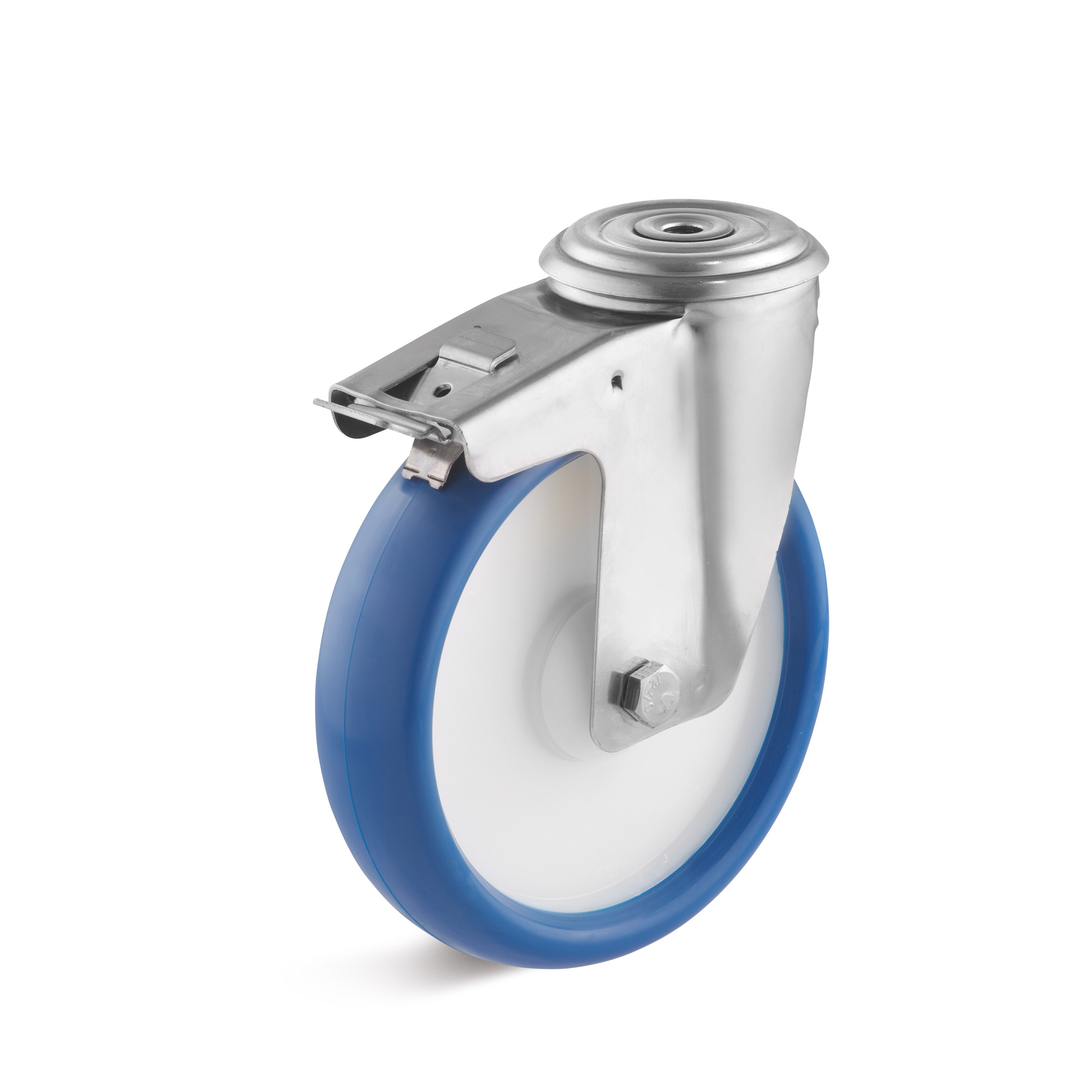 Stainless steel swivel castor with back hole attachment and double stop, polyurethane wheel