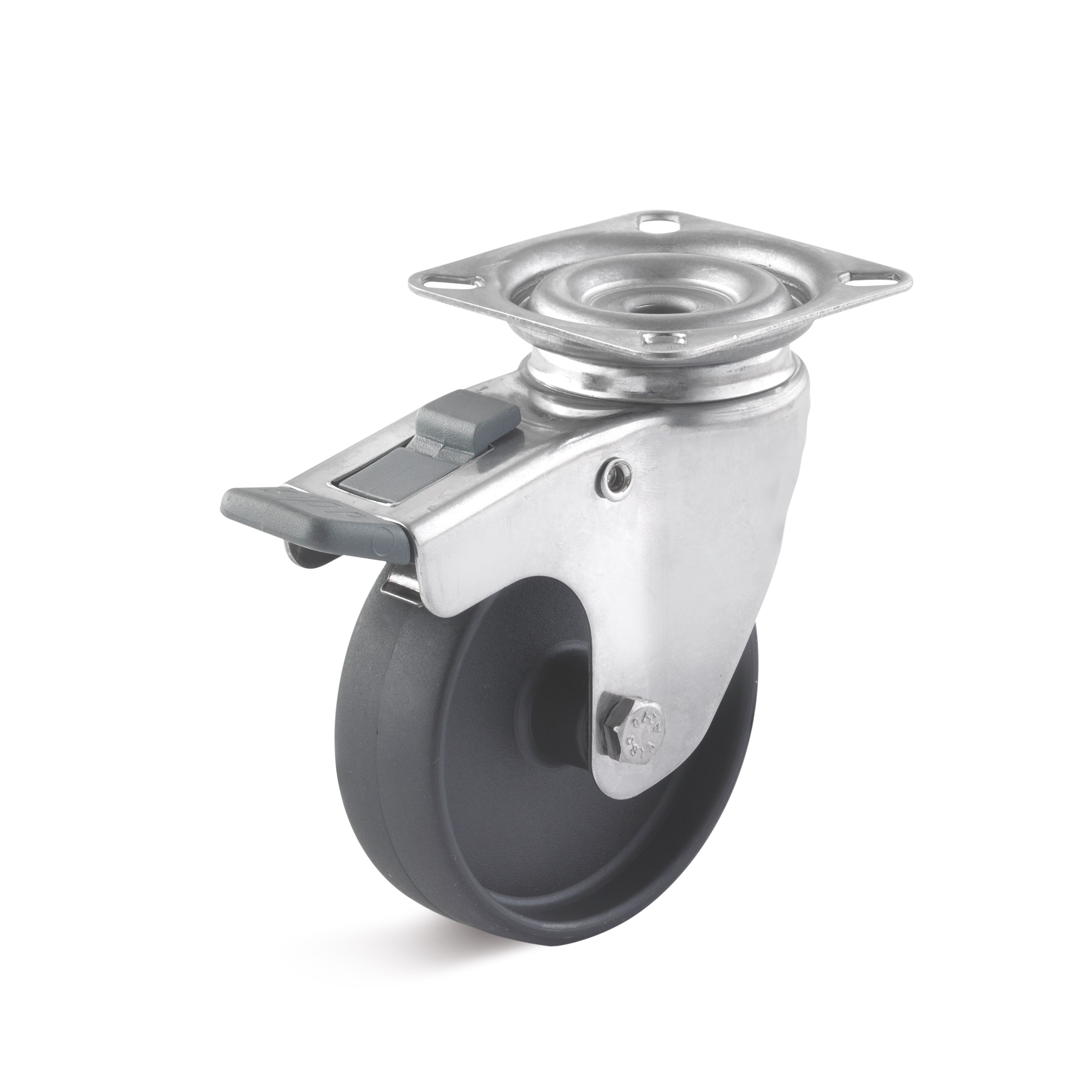 Stainless steel swivel castor with plate attachment and double stop, polyamide wheel