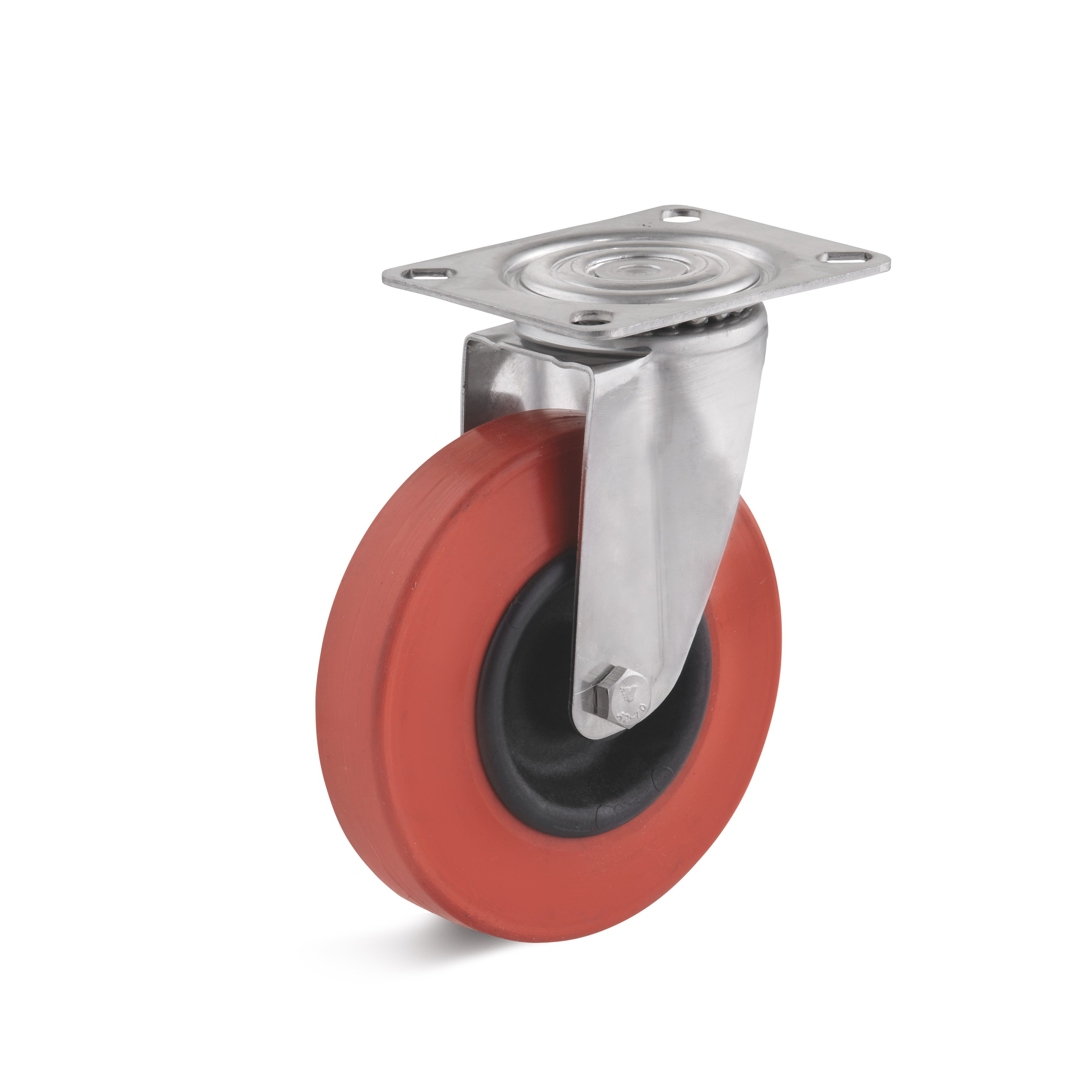 Stainless steel swivel castor with heat resistant rubber wheel