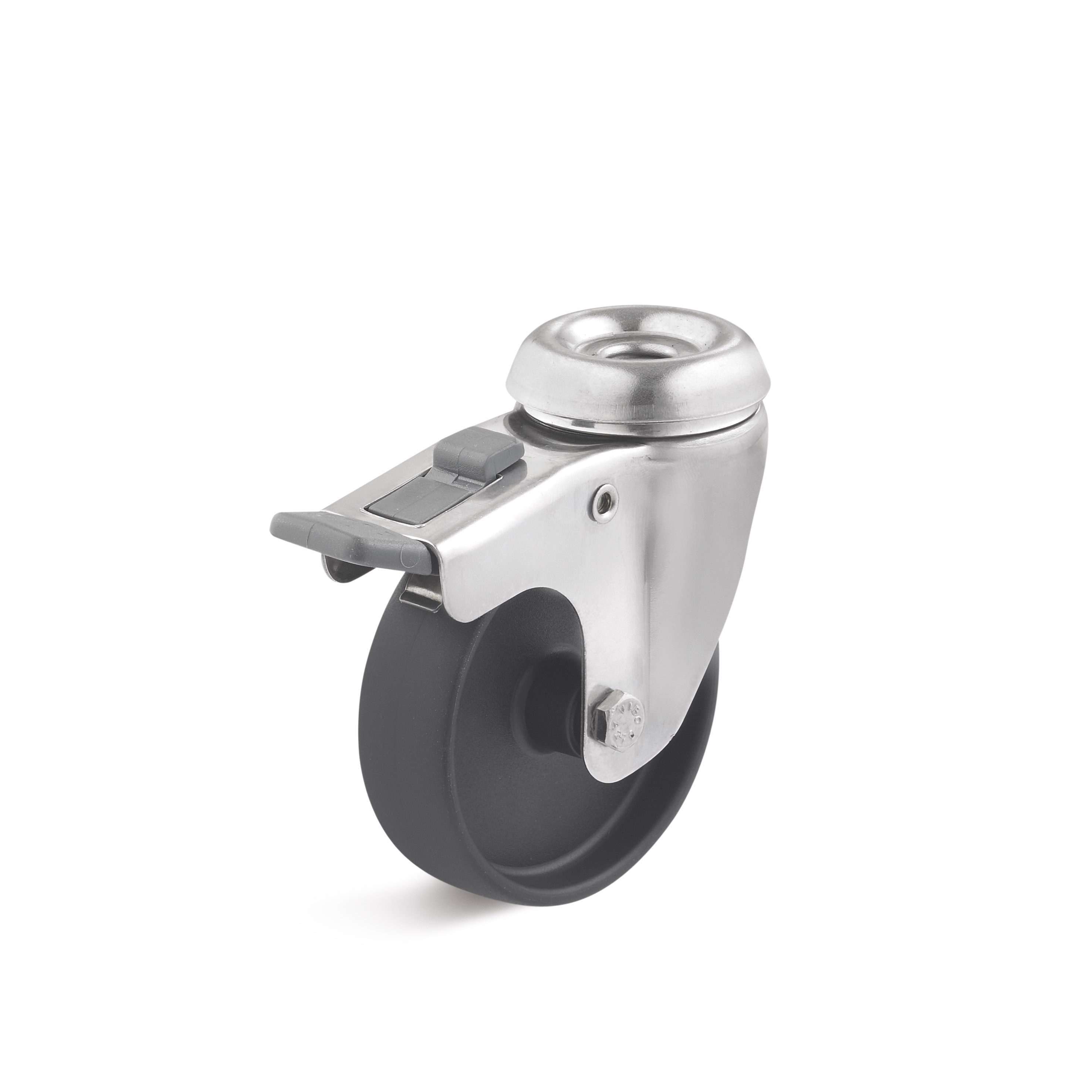 Stainless steel swivel castor with double stop, rear hole attachment, polyamide wheel