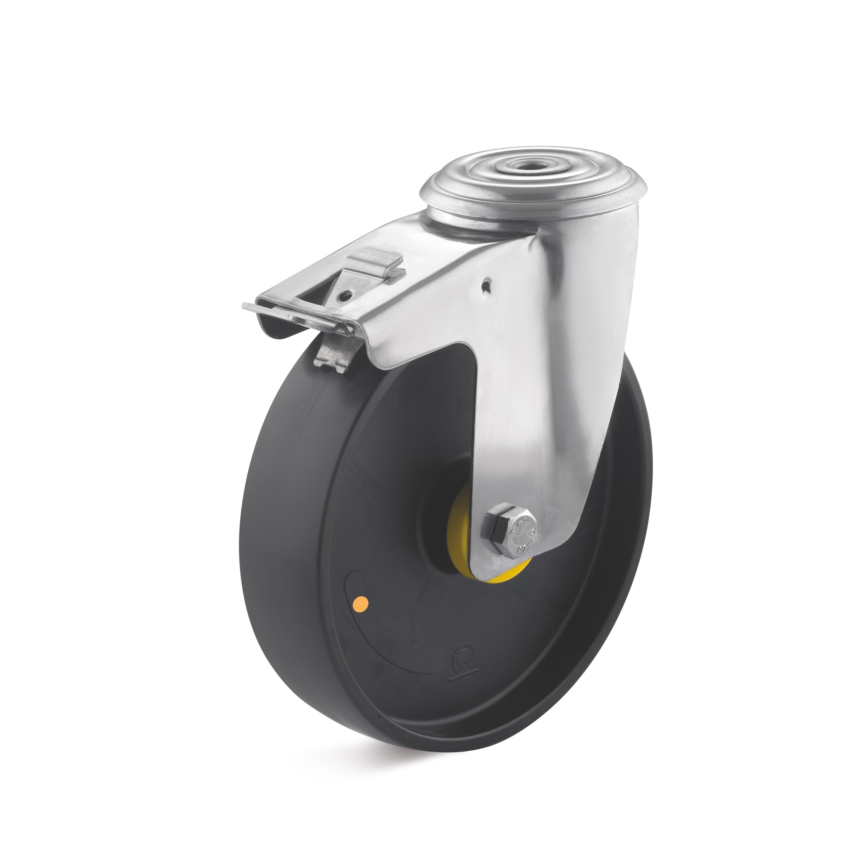 Stainless steel swivel castor with double stop and bolt hole, polyamide wheel