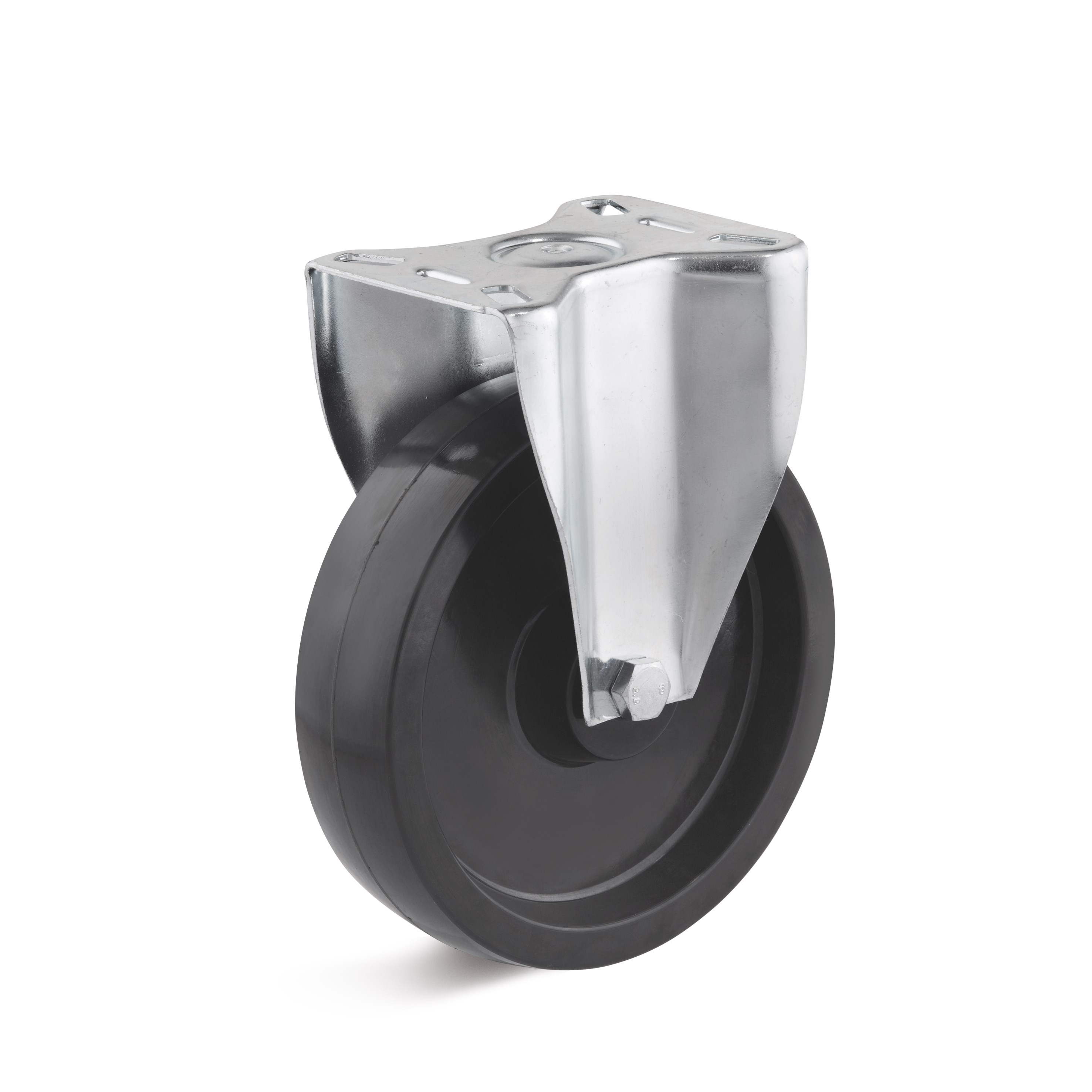 Fixed caster with heat-resistant plastic wheel