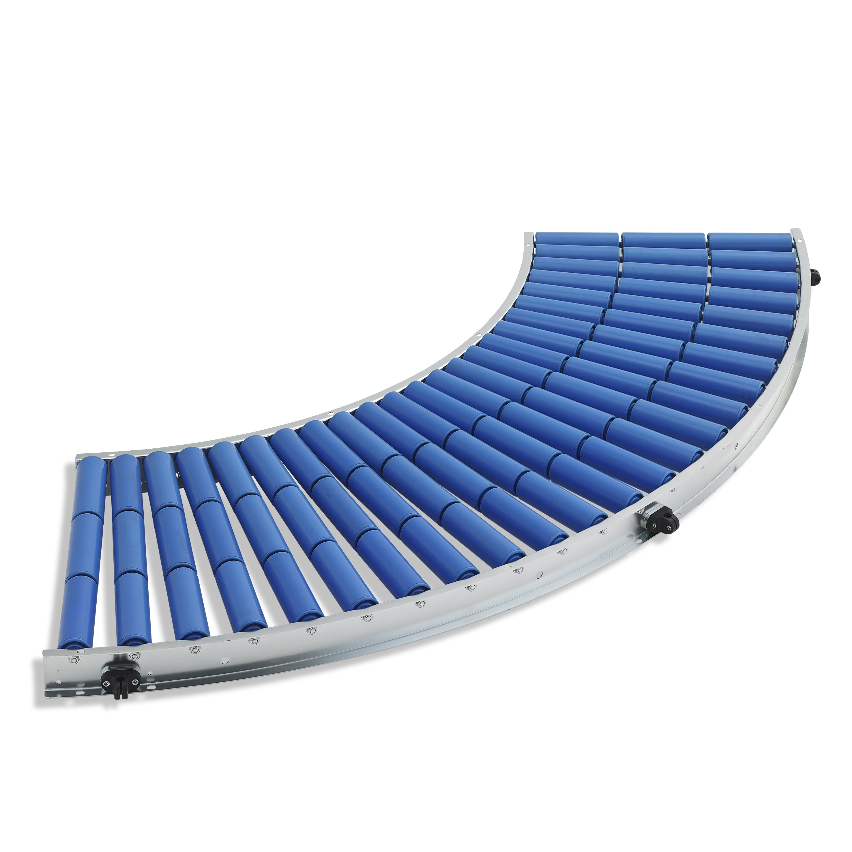 Slightly roller conveyor curve / plastic support roller