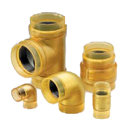 External Surface Transparent Coating for Fire Protection Piping 10 K Fittings VF Gold, Unequal Diameter Tee