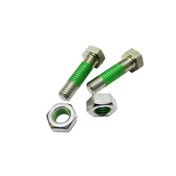 "Hex Bolts LOCTITE ""Precoat"" 202 (Bright Chromate) with 12mm Coating Applied at 1-2 Gaps From The Tip"