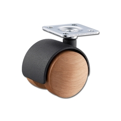 Wooden Dual Wheel Caster