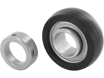 Radial insert ball bearings RABR, with rubber interliner, location by eccentric locking collar, P seals on both sides