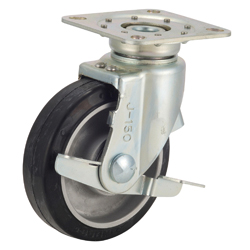 Caster for Trolleys TRS-AWJB Type, Aluminum Core Type with Stopper and Swiveling Hardware, Silent