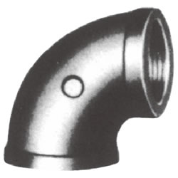 Screw-In Malleable Cast Iron Pipe Fitting, Elbow with Collar